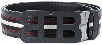 Bally Mirror B striped belt