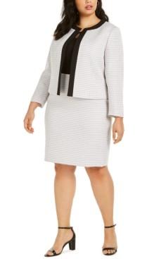 Le Suit Plus Size Tweed Contrast-Trim Dress Suit