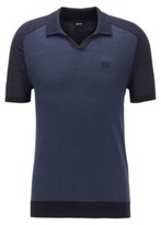 BOSS Cotton-linen short-sleeved sweater with polo collar