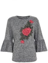Quiz Grey and Red Embroidered Frill Sleeve top