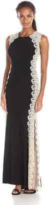 Xscape Evenings Women's Long ITY Dress with Lace Sides