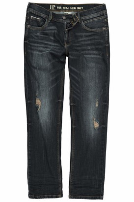 JP 1880 Men's Big & Tall Vintage Look Distressed Stretch Jeans Dark Blue 32 720253 93-32