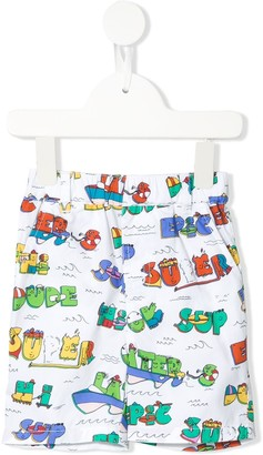 Stella McCartney Kids Super Dude print shorts