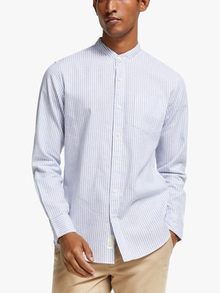 John Lewis & Partners Heather Stripe Cotton Linen Grandad Collar Shirt, Blue
