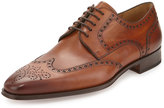 Magnanni Brogue Wing-Tip Hand-Antiqued Leather Oxford, Cognac