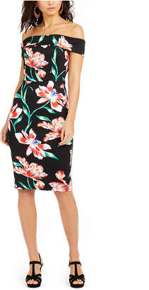 Thalia Sodi Off-The-Shoulder Printed Bodycon Dress