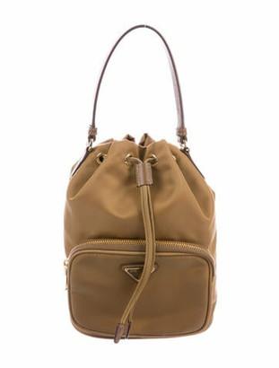 Prada Tessuto Mini Drawstring Bucket Bag w/ Strap Brown