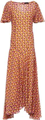 De La Vali Olivia Ruffled Fil Coupe Chiffon Maxi Dress