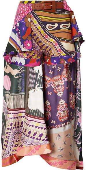 Chloé Asymmetric Printed Silk-satin Shorts - Purple