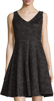 Chetta B Fit-and-Flare Net Dress, Black