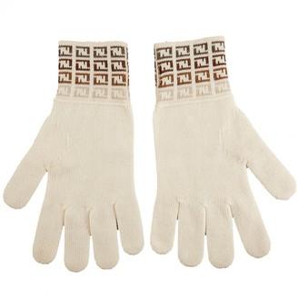 Fendi Ecru Wool Gloves