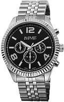 August Steiner Men's AS8096SSB Swiss Quartz Multifunction Black Dial Silver-tone Stainless Steel Bracelet Watch