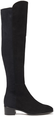 Stuart Weitzman Tia Stretch-knit And Suede Knee Boots