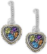 Effy Final Call by Multi-Gemstone (1 ct. t.w.) & Diamond (1/8 ct. t.w.) Heart Earrings in Sterling Silver & 18k Gold