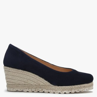 Daniel Meroda Navy Suede Espadrille Wedge Court Shoes