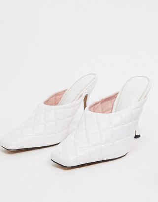 ASOS DESIGN Popeye quilted high heeled mules in white