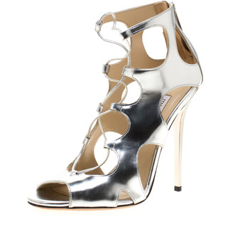 Jimmy Choo Metallic Silver Leather Cutout Lace Up Sandals Size 37