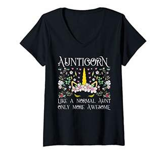 Womens Aunticorn Like a Normal Aunt only More Awesome V-Neck T-Shirt