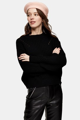 Topshop Womens Black Ladder Detail Cropped Jumper - Black