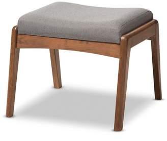 "Baxton Studio Roxy Mid - Century Modern Wood Finish and Fabric Upholstered Ottoman - Gray, ""Walnut"" Brown"
