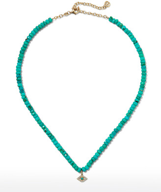 Sydney Evan Turquoise Necklace with Diamond Evil Eye