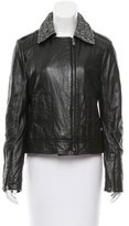 Dolce & Gabbana Herringbone-Accented Leather Jacket