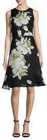 Carolina Herrera Silk Floral Printed Flare Dress