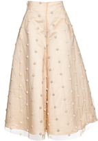 Natasha Zinko Embroidered pompom wide-leg culottes
