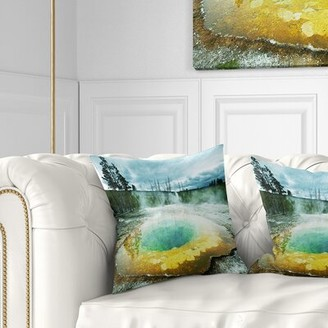 """Pool' East Urban Home Landscape Morning Glory Pool Under Clouds Pillow East Urban Home Size: 16"""" x 16"""", Product Type: Throw Pillow"""