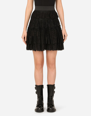 Dolce & Gabbana Ruffled Tulle And Lace Midi Skirt