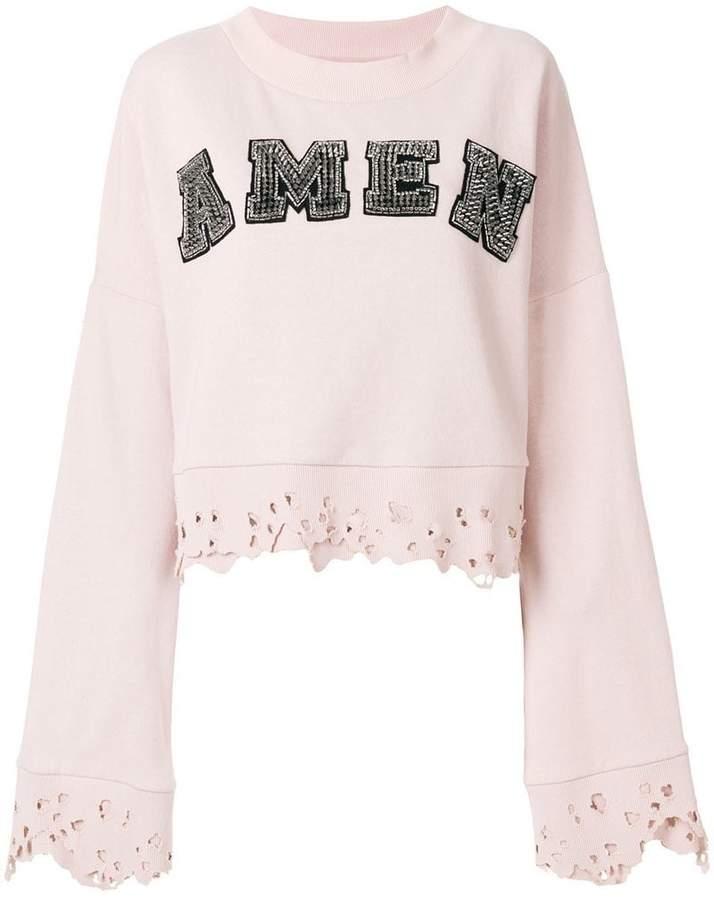 Amen studded logo sweatshirt with distressed edges