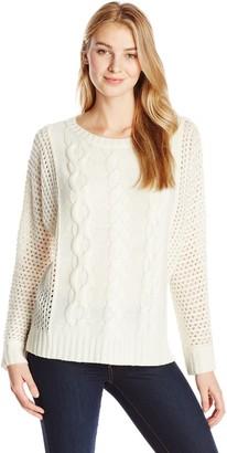 Joan Vass Women's Batwing Cable Sweater