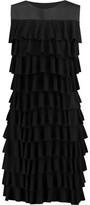Norma Kamali Tiered Ruffled Stretch-Jersey Mini Dress
