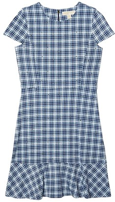 MICHAEL Michael Kors Glam Plaid Print Stud Flounce Dress (Chambray) Women's Dress