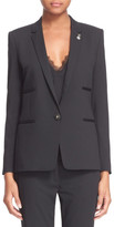 The Kooples Suit Jacket with Faux Leather Trim