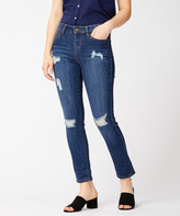 Dollhouse Women's Denim Pants and Jeans Driftwood - Dark Wash Distressed Cropped Jeans - Juniors