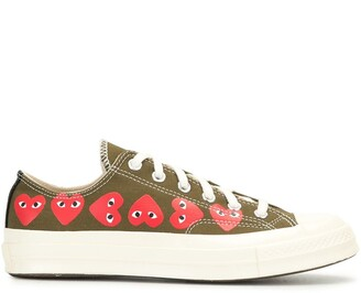Comme des Garcons Signature Red Heart Print Sneakers