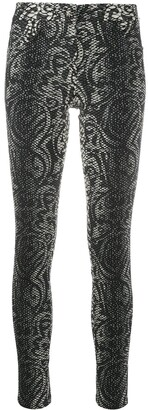 John Richmond Cropped Snakeskin Print Skinny Trousers