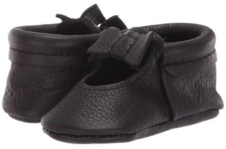 Freshly Picked Ebony Ballet Flat Bow Mocc (Infant/Toddler) (Black) Girl's Shoes