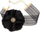 Lydell NYC Statement Flower & Mesh Choker Necklace, Black