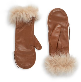 Carolina Amato Faux Fur-Trim Leather Mittens