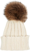 Inverni Cream Cashmere Fur Bobble Hat