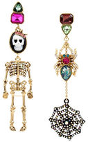 Betsey Johnson Cameo Skull and Spider Mismatch Earrings
