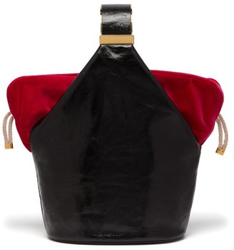BIENEN-DAVIS Kit Leather And Velvet Clutch - Womens - Black Pink