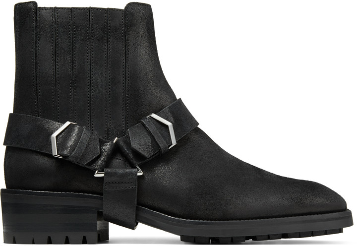 Jimmy Choo LOKK Black Oiled Suede Ankle Boots