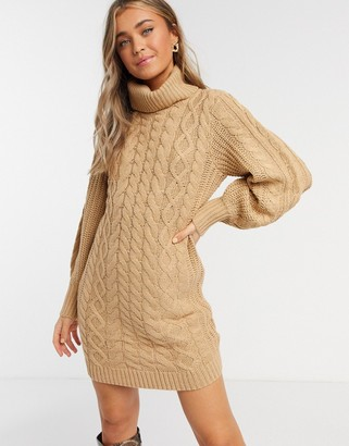 Brave Soul zincon cable knit jumper dress with balloon sleeves