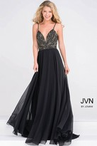 Jovani Spaghetti Strap Embellished Bodice Chiffon Dress JVN49647