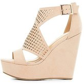 Charlotte Russe Bamboo Perforated Cut-Out Wedge Sandals
