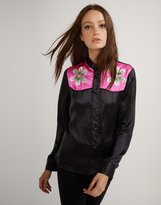 Cynthia Rowley Embroidered Flower Button Down Shirt