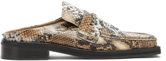 Martine Rose Curb-chain Square-toe Snake-effect Leather Loafers - Beige Multi